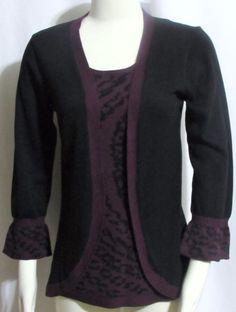 NEW Womens Ladies NOUVEAUX Black & Purple Faux Twin Set Cardigan Sweater S #Nouveaux #OpenCardigan #Versatile