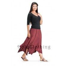 Burgundy Wine Shauna Mega Flare Embroidered Boho Gypsy Hippie Dance Skirt
