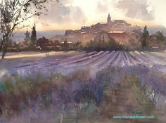 """""""Lavender Field, Provence, France"""" watercolor (demo) by Keiko Tanabe"""
