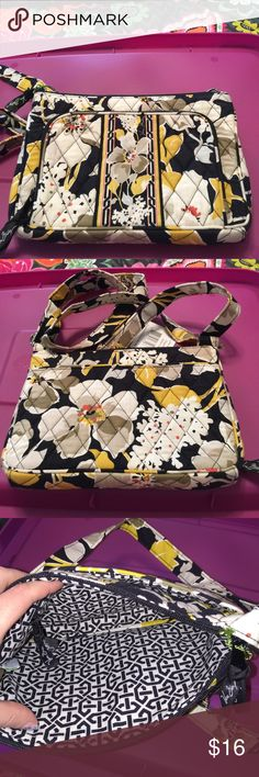 Vera Bradley little hipster dogwood Small crossbody. Outside has a zip pocket on the front with an id slot,3 credit card slots, cash slot. Back has a magnetic closure slip pocket. Main compartment is a zip closure. Inside 1zip pocket. Vera Bradley Bags Crossbody Bags