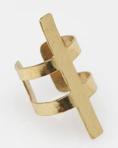 Spine Ring  Young Frankk    Art Deco-inspired adjustable brass ring by Young Frankk. Features hammered brass spine design, coated with a protective finish to keep from tarnishing.