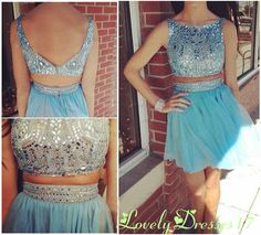 New Arrival Two-piece Blue Rhinestones Round Neckline Mini Homecoming Dress