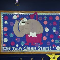 Off to a Clean Start August Back to School Bulletin Board  #BacktoSchool #Teacher Pinned by www.FernSmithsClassroomIdeas.com