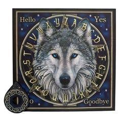 "The Wild One Celtic Gray Wolf Ouija """"Talking"""" Spirit Board Game 15"""" x 15"""" Fantasy"