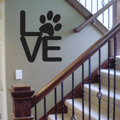Paw Love Rounded Type Removable Vinyl Wall by ApostropheDecals. Maybe a little smaller for my doggy photo wall Home Projects, Projects To Try, Removable Vinyl Wall Decals, Wall Vinyl, Chesire Cat, Dog Rooms, Wall Decor, Wall Art, My New Room