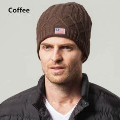 Warm winter knit hats for men outdoor leisure beanie hat Mens Knit Beanie, Knit Hat For Men, Hats For Men, Beanie Hats, Winter Knit Hats, Winter Wear, Knitted Hats, Cap, Knitting