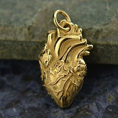 Shiny+14K+Gold+Plated+Sterling+Silver+Anatomical+Heart+Charm