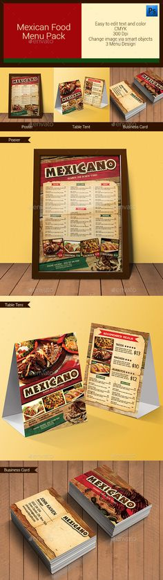 Mexican Food Menu Pack — Photoshop PSD #mexico #business card • Available here → https://graphicriver.net/item/mexican-food-menu-pack/11204399?ref=pxcr