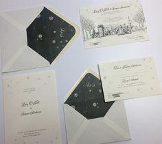 Snowflakes signature design wedding invitation by Appleberry Press