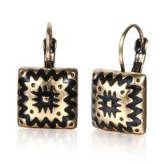 Brincos Oro Antiguo de Plata Cuadrado de Dos Estilos Esmalte Pendiente de Gota De Las Mujeres de Impresión Retro Étnica joyas Pendiente Única
