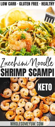 This low carb keto shrimp scampi recipe with zucchini noodles makes a one-pan meal! Zucchini shrimp scampi is an easy, delicious way to make shrimp scampi keto and healthier, too.