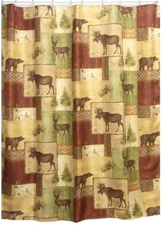 Mountain Lodge Moose And Bear Shower Curtain! This Is The One For Our  Bathroom But I Cannot Find It Anywhere.