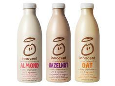 Innocent squares up to Alpro with dairy alternatives move Milk Packaging, Food Packaging Design, Bottle Packaging, Product Packaging, Packaging Ideas, Vegan Milk, Soy Milk, Milk Brands, Milk Alternatives