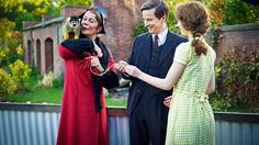 """Lady Daphne Goodwin (Celia Imrie) with Mortimer (Squirrel Monkey), George Mottershead (Lee Ingleby) and Muriel Mottershead (Amelia Clarkson) in """"Our Zoo"""" ep 3, 2014."""