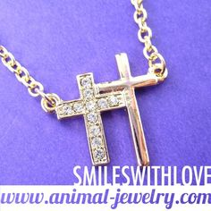 SALE - Double Cross Shaped Charm Necklace in Gold with Rhinestones $7.99 #Christian #cross #jewelry #necklace #charm