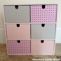 How to decoupage Ikea small wooden drawers with patterned paper