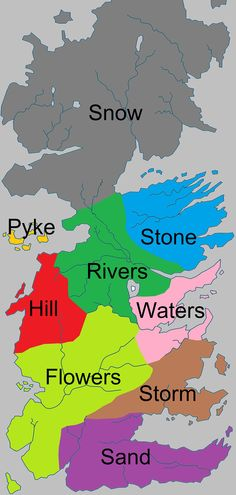 Bastard last name by regions of Westeros. Game of Thrones lore
