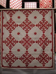 beautiful red and white quilt