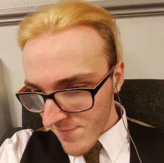 So this happened before work. Rad! #bleached #rad #hair #selfie #guyswithglasses #guyswithtattoos
