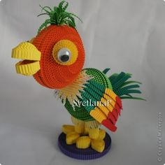 *QUILLING ~ Игрушка Квиллинг Попугай Кеша Картон гофрированный фото 1-TOO CUTE!!