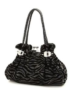 Zebra Print Large Kiss Lock Satchel Handbag SALE $33.00 find more items like this at www.ddsgiftshop.com visit and like us on facebook here www.facebook.com/pages/DDs-Gift-Shop/113955198649056