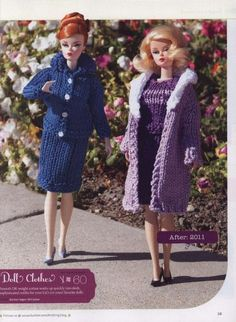 Sewing Barbie Clothes, Barbie Clothes Patterns, Clothing Patterns, Free Barbie, Barbie Knitting Patterns, Barbie Dress, Barbie Outfits, Chicken Scratch Embroidery, Super Chunky Yarn