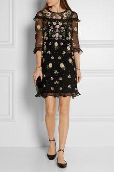 Needle & Thread | Organza-trimmed embellished tulle mini dress | NET-A-PORTER.COM