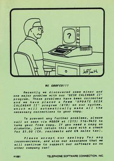 Postcard offering free update to Desk Calendar II program. (1981) Desk Calendars, Telephone, Connection, Software, Free, Desktop Calendars, Phone, Desk Pad Calendar