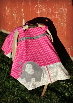 Pink and grey Chevron carseat canopy with elephant applique. Zipper carseat canopy with a sweet & Girls Appliqued Fitted Elephant Car Seat Canopy With Peek-A--Boo ...