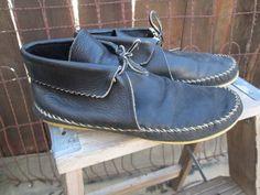 Vintage blue Moccasin ankle Boots  70s vintage navy blue moccasin leather boho boots  7.5 8