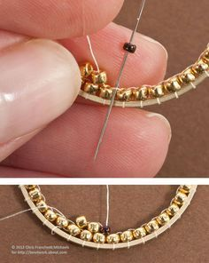 I've wondered how people do this! So cool! Inside Brick Stitch Hoop Earrings Tutorial: How to Stitch Beads to the Insides of Metal Hoops With Brick Stitch. By Chris Franchetti Michaels
