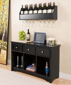 Look what I found on #zulily! Black Floating Wine Rack & Living Room Console Set by Prepac #zulilyfinds