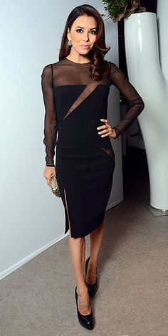 Cannes 2012 Eva Longoria in an updated LBD with sheer accents and a slit!