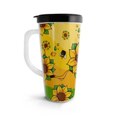Vasito viajero – Girasoles, encuentra este producto en nuestra tienda online. Travel Mug, Mugs, Tableware, Vase, Siempre Contigo, Sunflowers, Sky, Store, Dinnerware