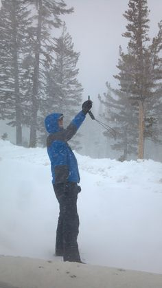 Here's KOLO8 News Now Photog Ray taking a wind reading in a snow storm on Mt. Rose.