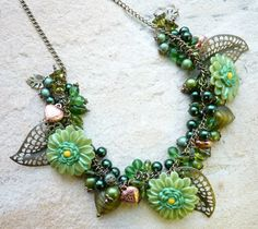 Statement Necklace Bib Style Green Floral Charm by enchanted1974, £40.00