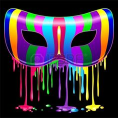 Carnival Mask Psychedelic Rainbow Glowing Paint
