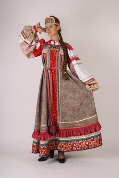russian traditional costume of a young girl from vologda province reconstruction of traditional slavic outfit