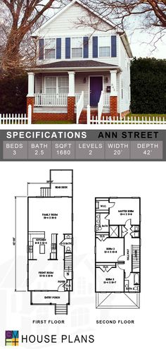 VISIT FOR MORE The Ann Street is a popular TND style house plan, originally designed for the historical neighborhood of Parkview in Portsmouth Virginia. An wide version of this house plan also available for 25 foot lots. Br House, Tiny House Cabin, Sims House Plans, House Floor Plans, Narrow Lot House Plans, Weekend House, Architect House, House Goals, Layout