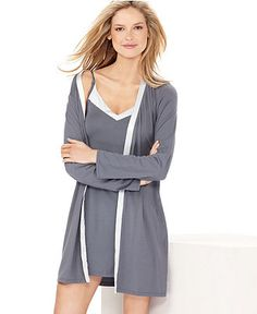 Calvin Klein Essentials, Chemise and Robe - Womens Lingerie - Macy's Plus Size Pajamas, Pajamas All Day, Girly Outfits, Cool Outfits, Calvin Klein Pyjamas, Cute Pjs, Sleeves Designs For Dresses, Boho Fashion, Fashion Outfits