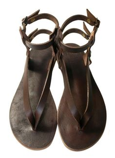 87575f2719 Brown Jojo Leather Sandals for Women & Men - Handmade Leather Sandals,  Casual Leather Flats