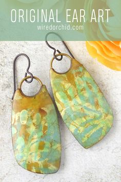 Polymer Clay Projects, Polymer Clay Art, Polymer Clay Earrings, Clay Beads, Resin Jewelry, Mustard Yellow, Dangle Earrings, Hand Painted, Salt Dough