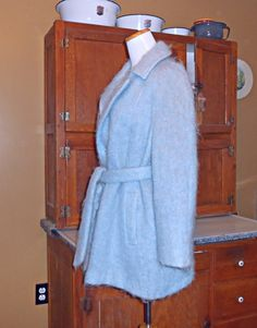 Womens Fur Coat Mohair Coat Angora Wool Womens Coats Womens Vintage Coats Wrap Coat Blue Coat Belted Coat Womens Vintage Clothing by ZasuVintage on Etsy
