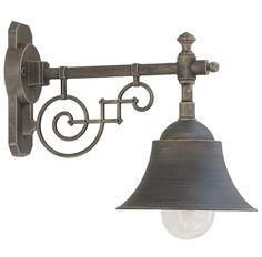 Historische Außenlampe mit Schirm 46213 im Industriedesign *Außenlampe mit Schirm 46213, Bronze, klares Glas
