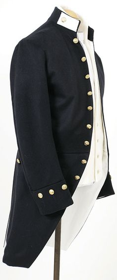 CT5023A Napoleonic Era Naval Lieutenants Frock  Shown here is a Naval Lieutenants service frock coat circa 1805, we created the original uniform for the first public wedding in costume on board HMS Victory in May 2002.