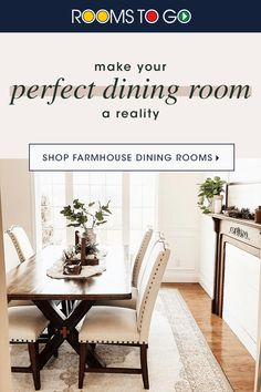 Get that coveted Farmhouse Dining Room that you've been dreaming of right now at Rooms To Go! With neutral tones and interesting wooden pieces, rustic-chic has never been so easy to achieve. Shop our entire collection of home furniture today. Rustic Dining Room Sets, Dinning Room Tables, Diy Dining Table, Dining Rooms, Bedroom Furniture Makeover, Home Decor Furniture, Dinette Sets, Dining Room Inspiration, Affordable Furniture