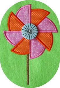 Pinwheel Applique Machine Embroidery  Design from Embroidery Garden