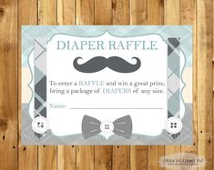 Mustache Baby Shower Diaper Raffle Insert Card - Insert Card - Stripes - Little Gentleman - Printable - Custom - You Print by TaraWilliamsArt on Etsy Boy Printable, Printable Baby Shower Invitations, Shower Inserts, Little Gentleman, Fun Baby Shower Games, Baby Shower Diapers, Diaper Raffle, Baby Prints, Mustache