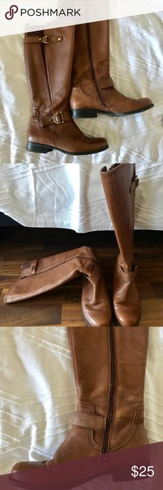 Naturalizer tan riding boots. Size 6W tan riding boots. Rubber sole. Gold hardware. I typically wear a 6B, but I purchase a wide in these so I could wear a thicker sock. They're perfect! Naturalizer Shoes Winter & Rain Boots