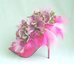 Fill beautiful shoes with arrangement of homemade silk flowers